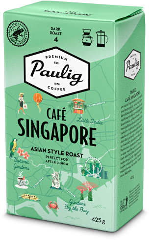 Vihreä Paulig Café Singapore -kahvipakkaus
